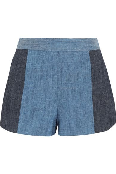 Alice Olivia - Madison Two-tone Chambray Shorts - Indigo - US12