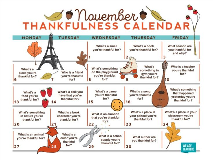 This free printable calendar will give you and your students thought-provoking questions all November to promote kindness and thankfulness.