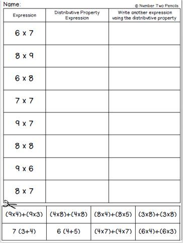 FREEBIE!! Use this quick little activity to help students practice matching multiplication expressions to those using the distributive property.
