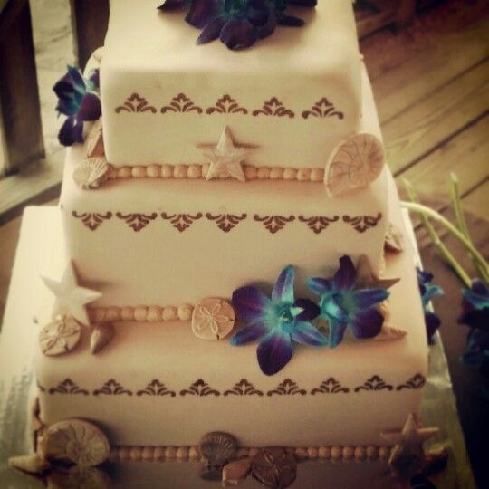 Beach Wedding Cake Orquids Teal Purple Seashells If Youre In The Tampa Bay Area And Need A