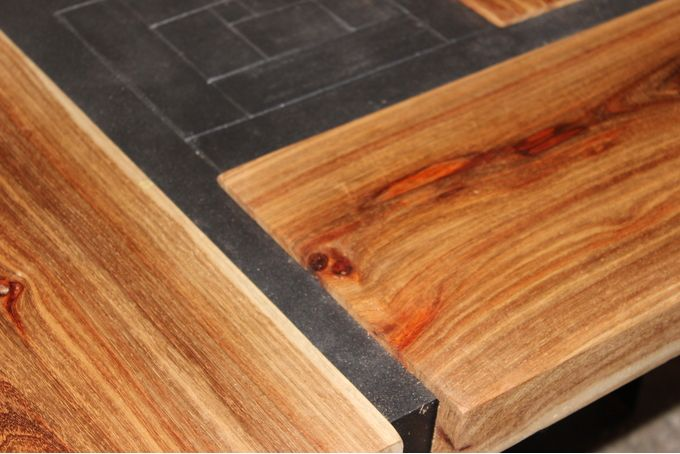 Detail view on the Solid Kiaat parquet coffee table by JVS Designs
