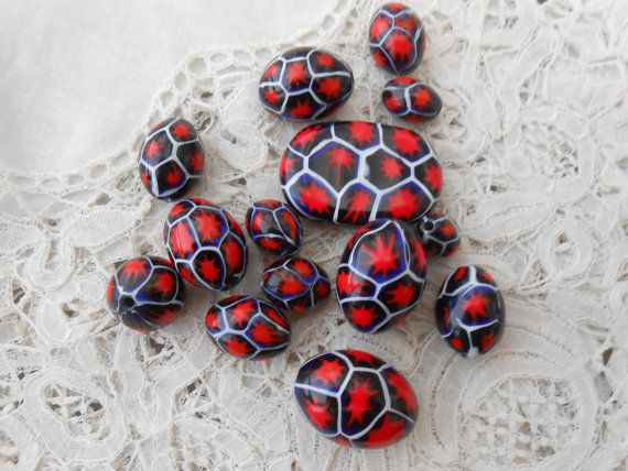 Old millefiori glass beads x 14