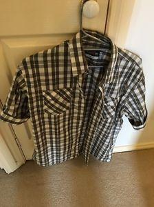 Mens Checkered Short Sleeve Shirt Casual Green XL | eBay