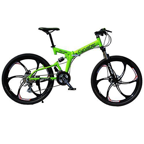 Selected Cyrusher RD-100 Green Shimano M310 ALTUS Full Suspenion 24 Speeds Folding Mens Mountain Bike Bicycle 17 in * 26 in Aluminium Frame Disc Brakes - http://www.bicyclestoredirect.com/selected-cyrusher-rd-100-green-shimano-m310-altus-full-suspenion-24-speeds-folding-mens-mountain-bike-bicycle-17-in-26-in-aluminium-frame-disc-brakes/