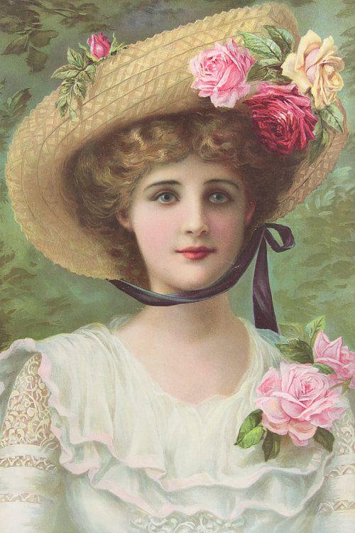 Vintage Home - Sweet Roses Edwardian Lady Print.