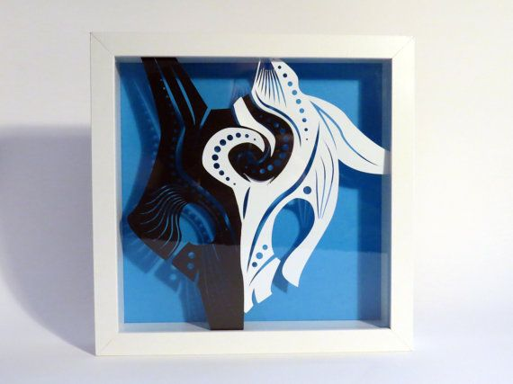 Kindred League of Legends papier knippen Shadowbox | Kindred masker | Wall Art | Bureau kunst
