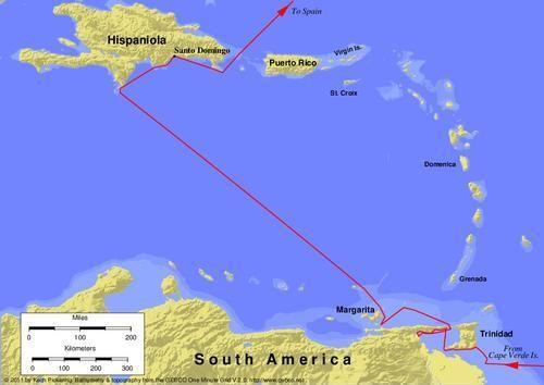 Derde reis van Christoffel Columbus (1498-1500) : landing op het schiereiland Paria Venezuela