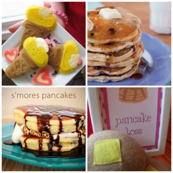 How about throwing a pancake party for your daughter's next birthday? Great sleepover party ideas! See more party ideas at CatchMyParty.com! #girlbirthday #slumberparty #pancakes