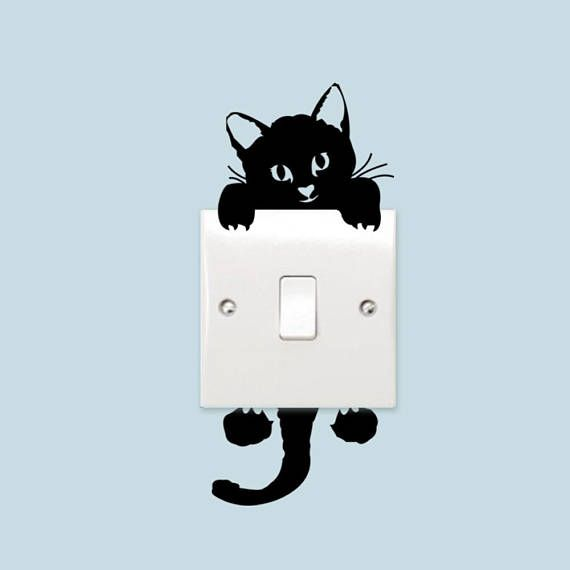 Funny Black Cat Switch Stickers Vinyl Wall Stickers Home