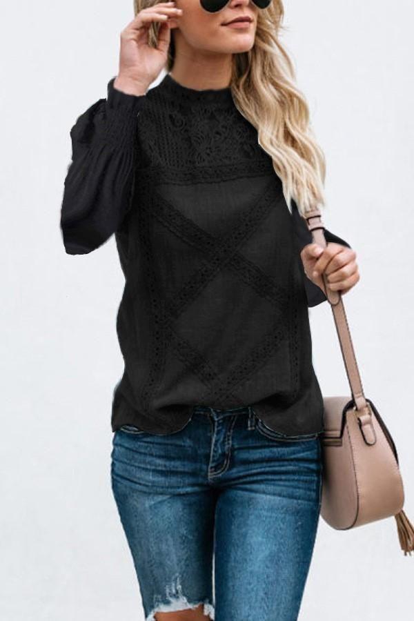 e53082c89b4 Fashion Lace Geometric Patchwork Long Sleeve Blouse | New Womens ...