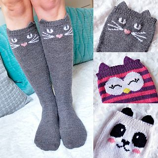 """You can count on everyone checking you out when you rock these amazingly awesome animal knee high socks! Not only will people admire your extraordinary knitting talent, they will be complimenting you on how adorable you look too! This super fun sock pattern features 3 animals to choose from, including a Cat, an Owl, and a Panda Bear. Each animal sock features a cute and clever message on the heel, including """"Meow"""", """"Hoot!"""" and """"Rawr"""", as well as a pair of sweet little animal ears that poke…"""