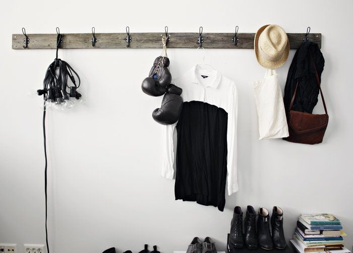 Make your own rack with an old board and metal hooks from the hardware store - Likainen Parketti | Lily: Interior Design, Dirty Parquet, Ideas, Inspiration, Hooks, Hardware Store