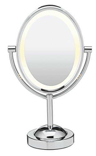 Conair Oval Shaped Double-Sided Lighted Makeup Mirror, 1x/7x magnification, Polished Chrome Finish. For product & price info go to:  https://beautyworld.today/products/conair-oval-shaped-double-sided-lighted-makeup-mirror-1x7x-magnification-polished-chrome-finish/