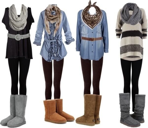 Long Shirts Leggings And Uggs Casual Outfits Winter