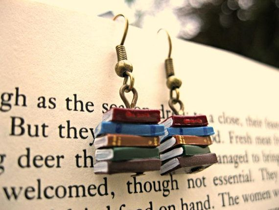 Stack of Books Earrings (Made to Order) - Book Jewelry by Coryographies