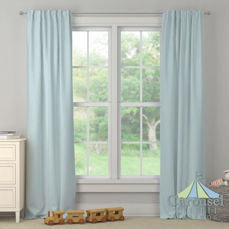 Custom drapes in Solid Mist.  Created using the Drape Designer by Carousel Designs