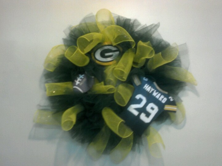 Mom's Football Team Wreath (this one made for  Green Bay Packers' #29 Mom) ~ Applies to any school, including college, and pro football teams