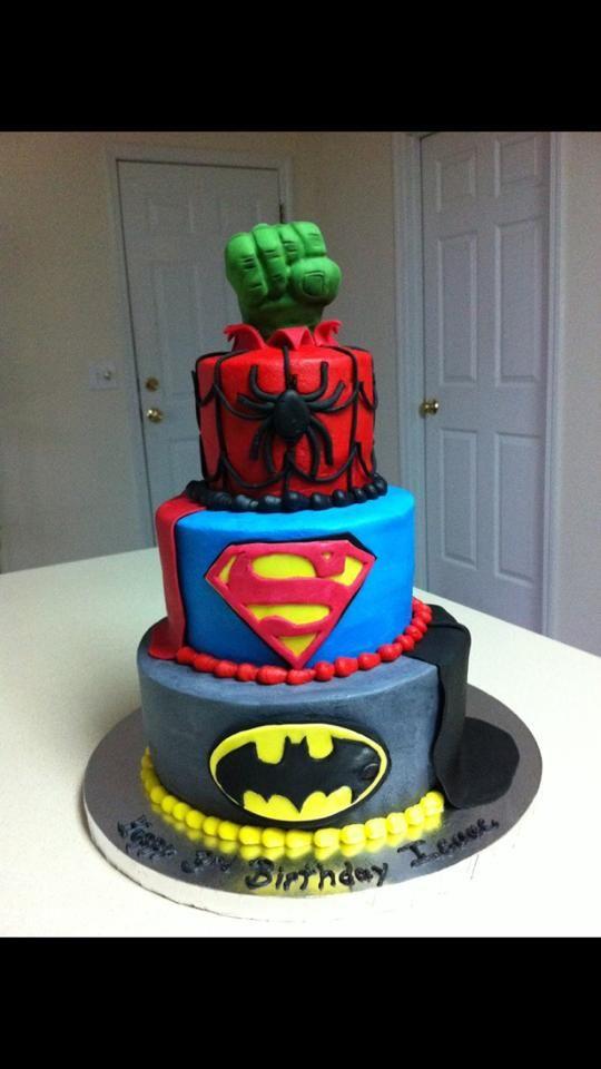 Batman, Superman, Spiderman, Hulk cake DC Comics/Marvel cake