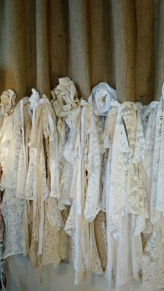 Made to Order Burlap Vintage Lace Curtains 2 Panels Boho 52'' x 85'' tmyers #Handmade #BohoPrairieShabbyChic