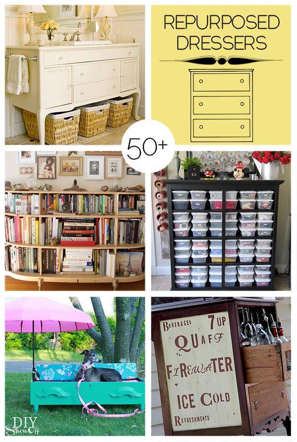 50+ ways to repurpose old dressers #DIY #HomeDecor @savedbyloves