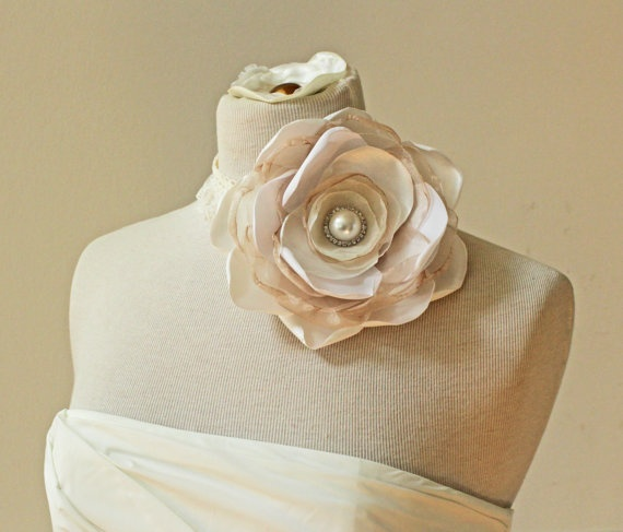 Statement sized flower choker necklace to be worn with a wedding dress $120.00
