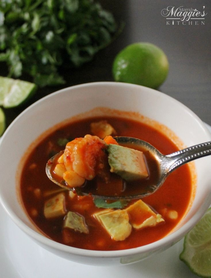 Caldo de Camarón (Mexican Shrimp Soup) via Mama Maggie's Kitchen