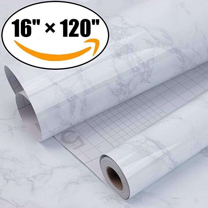 Aroic Marble Contact Paper Granite Gray White Roll Kitchen