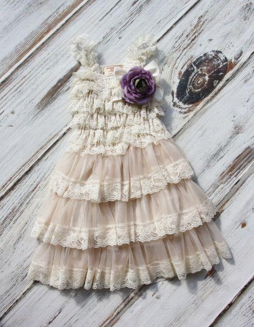 Lace Flower Girl Dress with Purple Flower Flower by jamiepowell