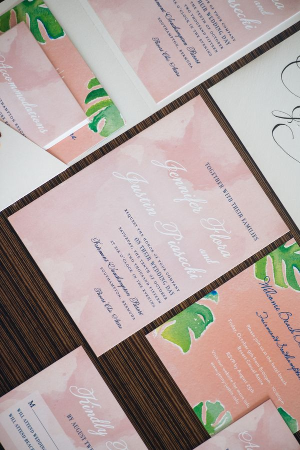 Tropical wedding stationery suite by GLDN Events (Photo by Alexander Masters)