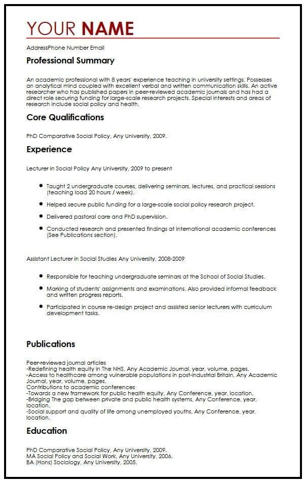 Inspiring University Lecturer Cv Template Picture