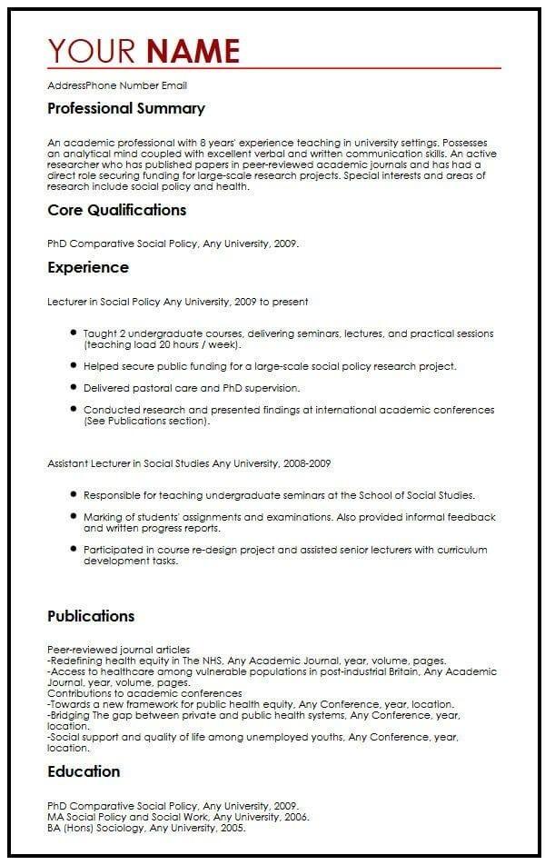 Academic Cv Example Myperfectcv Cv Examples Academic Cv Good Resume Examples