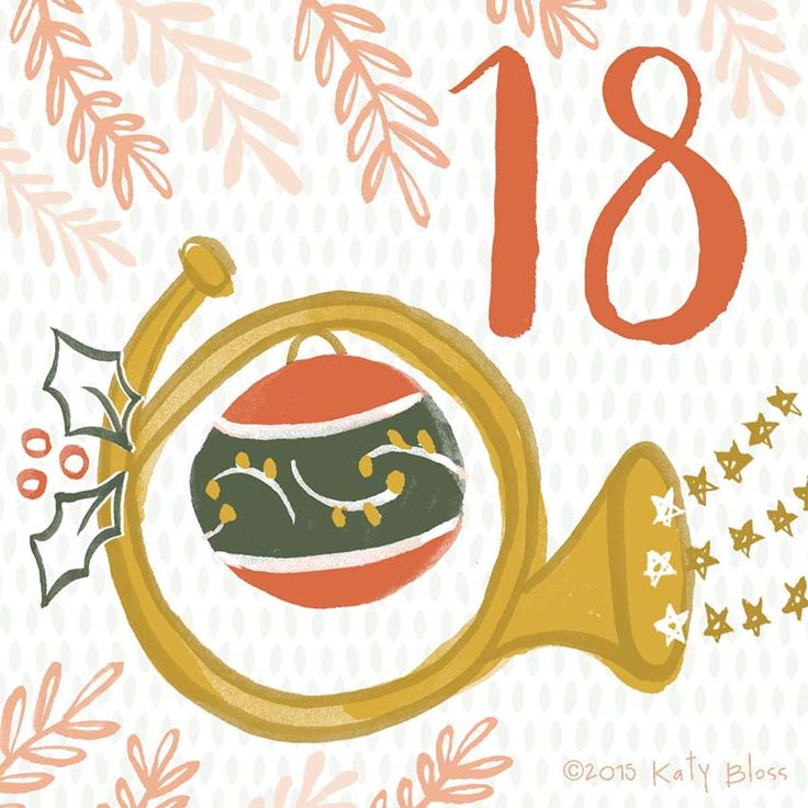 A French horn blowing Christmas stars across the sky, day 18 of an illustrated advent calendar by Katy Bloss.