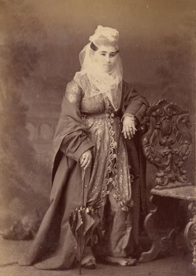Unknown Ottoman Lady    by Pascal Sebah.     Pascal Sébah (1823-1886) was an Ottoman pioneer photographer who worked in Istanbul. In 1857 he opened his first photography studio in Istanbul and by 1873 was successful enough to open another studio in Cairo.