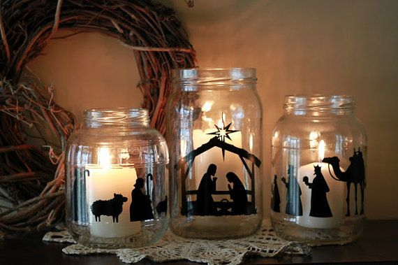 Vinyl Nativity Cutouts for Mason Jar candles