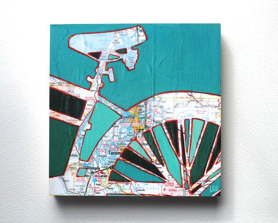 Bike Seattle mounted print - Seattle, Tacoma, Olympia, Lacey, Washington bicycle art mounted to wood: Bike Seattle, Washington Bicycle, Wood, Bicycle Art, Map Bike, Bike Stuff