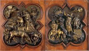 A sinistra la formella fatta da Brunelleschi per il concorso del 1401, a destra la formella fatta invece da Ghiberti.