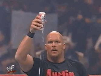 Stone Cold drinking a beer