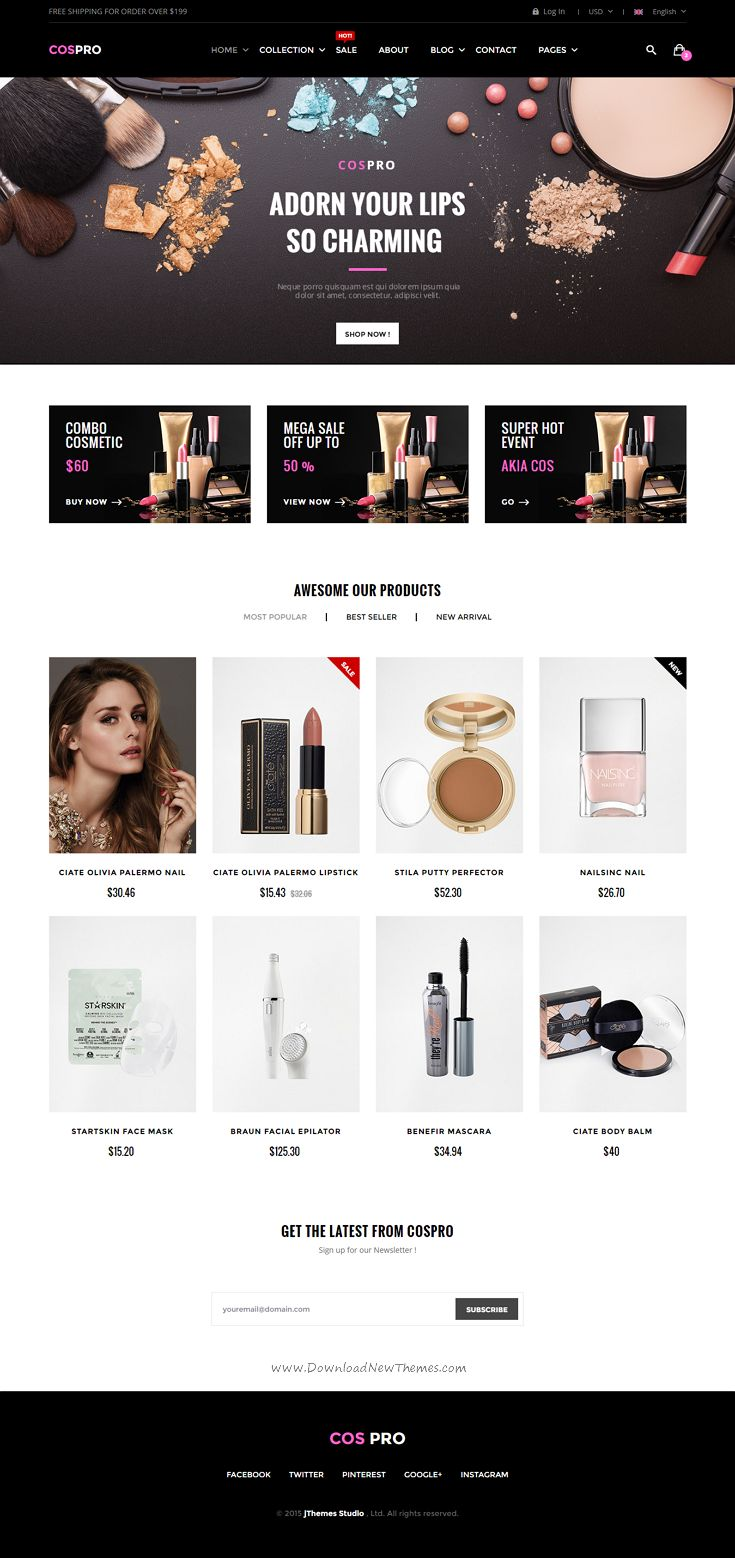 Epro is responsive unique eCommerce Bootstrap template for online shop with clean and modern design. It comes with 10 stunning homepage layouts. Demo #Cosmetics #website
