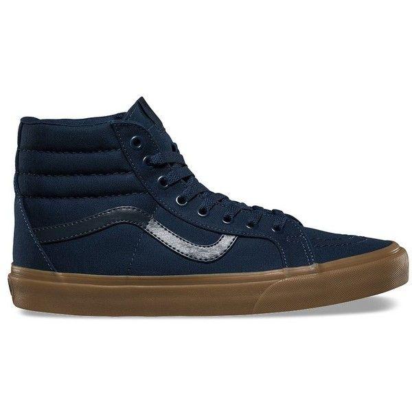 Vans Canvas Gum SK8-Hi Reissue ($60) ❤ liked on Polyvore featuring men's fashion, men's shoes, men's sneakers, blue, mens vintage shoes, mens canvas sneakers, mens high top shoes, mens high top sneakers and vans mens shoes