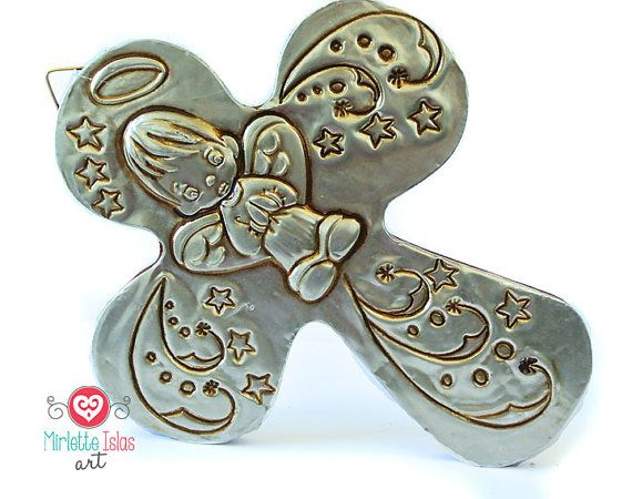 Little Angel  Hand embossed metal cross / Baptism favor / first communion favors