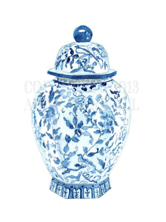 This is a print of an original gouache/ink painting by artist Anne Harwell McElhaney. Features a classic blue and white porcelain ginger jar. This is