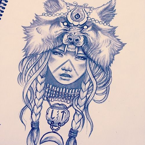 Mandala Wolf Tattoo Designs For Women I Like The: Indian Girl With Wolf Headdress - Google Search