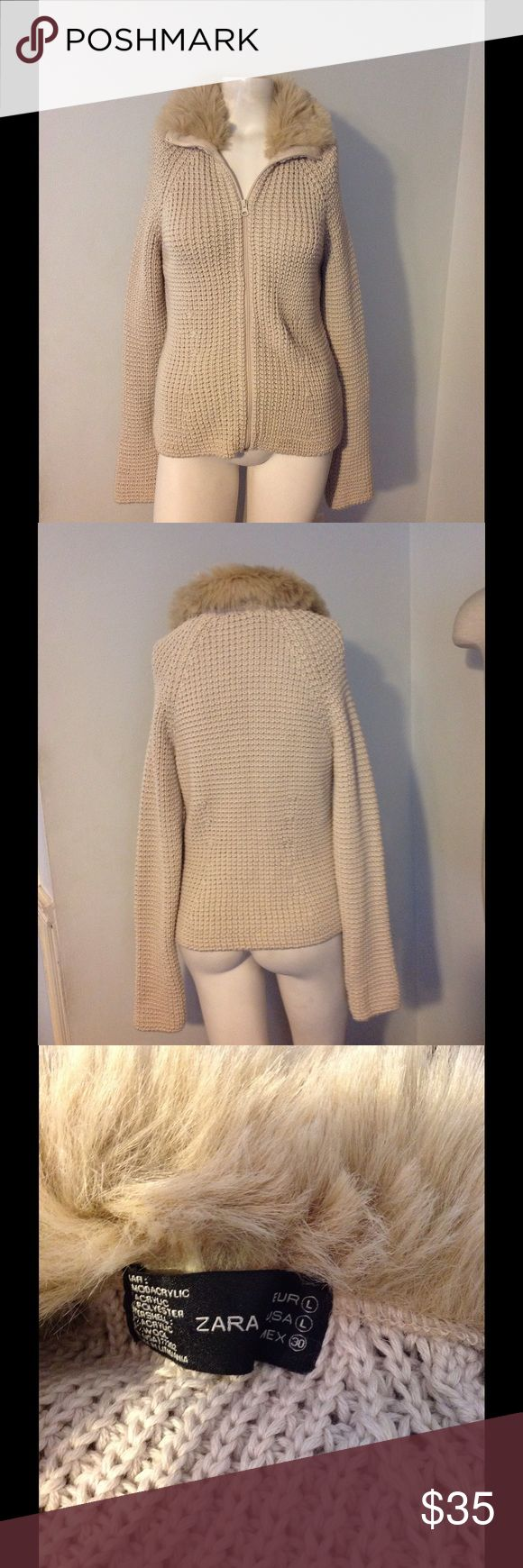 SALEZara Faux Fur Collar Zip Up Sweater L Very pretty Zara sweater. Zip up Cardi made of 50/50 acrylic wool. Great condition. Thanksgiving Sale!  Zara Sweaters Cardigans