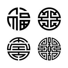 Four blessings: fu, lu, shou and cai (Chinese, Taoist symbol) vector art illustration