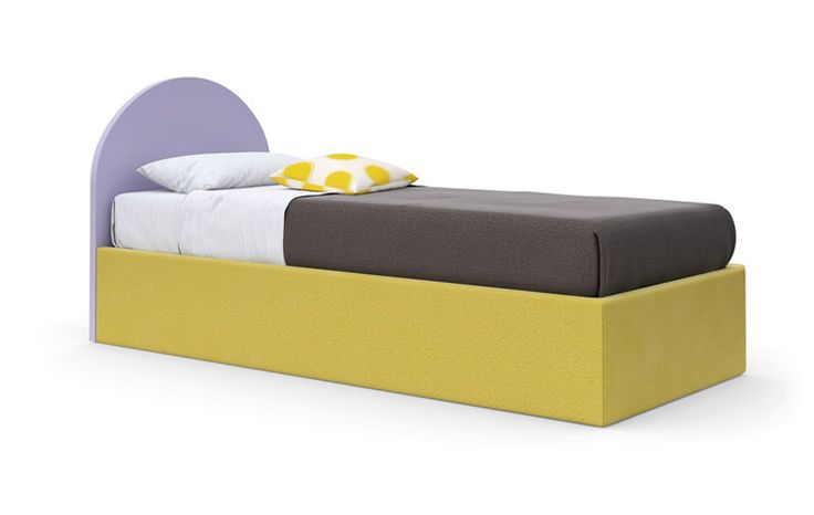 Igloo Bed - Mirtillo-coloured bed, cushion in Map fabric. #nidi #nididesign #kids #beds #kidsroom #room #fun #colors #furniture #design