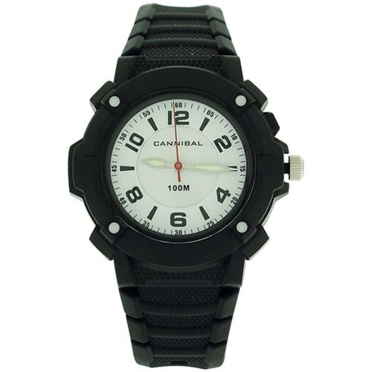 Cannibal Active Boys White Dial Luminous Hand Black Plastic Strap Watch CJ242-03. This unique, sturdy, and trendy kids watch by Cannibal from the Active range is a high functioning timepiece which will serve any boy well. This watch is an ideal gift for him. Product Features: * Japanese movement. * White dial. * Three hands. * Stainless steel case back. * Splashproof. * 10ATM water resistant. Strap Measurements: This watch fastens with a buckle on any of the 7 holes. * Length from one end…