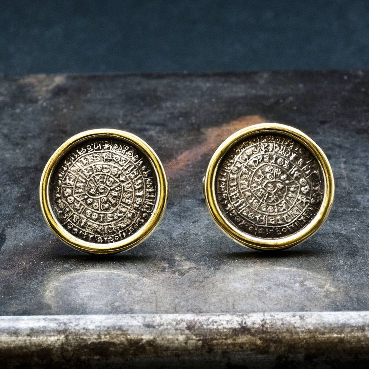 Greek Phaistos Disc Cuff Links, Silver and Gold Cuff Links,