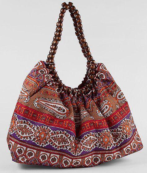 Wooden bead handle bag