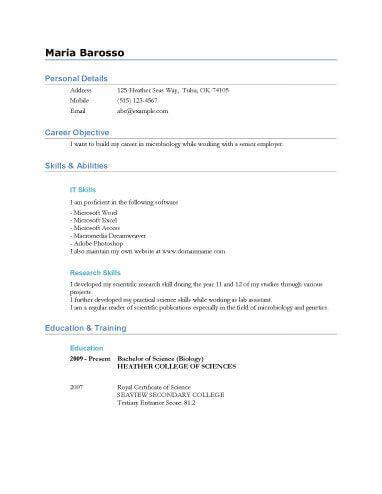 General Purpose Graduate Resume
