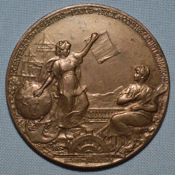 Medalha de bronze da Exposição Nacional de 1908 - Grande Prêmio - em perfeito estado de conservação